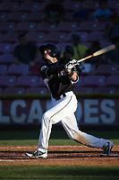 Bryce Johnson (6) of the Salem-Keizer Volcanoes bats against the Vancouver Canadians at Volcanoes Stadium on July 24, 2017 in Keizer, Oregon. Salem-Keizer defeated Vancouver, 4-3. (Larry Goren/Four Seam Images)