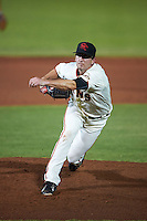 Scottsdale Scorpions pitcher Phil McCormick (41) delivers a pitch during an Arizona Fall League game against the Salt River Rafters on October 14, 2015 at Scottsdale Stadium in Scottsdale, Arizona.  Scottsdale defeated Salt River 13-3.  (Mike Janes/Four Seam Images)