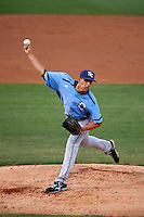 Charlotte Stone Crabs starting pitcher Brent Honeywell (32) delivers a pitch during a game against the Clearwater Threshers on April 12, 2016 at Bright House Field in Clearwater, Florida.  Charlotte defeated Clearwater 2-1.  (Mike Janes/Four Seam Images)