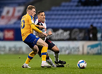 Bolton Wanderers' Antoni Sarcevic competing with Mansfield Town's George Maris (left) <br /> <br /> Photographer Andrew Kearns/CameraSport<br /> <br /> The EFL Sky Bet League Two - Bolton Wanderers v Mansfield Town - Tuesday 3rd November 2020 - University of Bolton Stadium - Bolton<br /> <br /> World Copyright © 2020 CameraSport. All rights reserved. 43 Linden Ave. Countesthorpe. Leicester. England. LE8 5PG - Tel: +44 (0) 116 277 4147 - admin@camerasport.com - www.camerasport.com