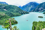 Diablo Lake,  behind Diablo Dam. Diablo Dam.  From SR 20 viewpoint. Part of North Cascades Institute and Seattle City Light Diablo Lake and Lunch Boat Tour.  Skgit Tours.  Ross Dam, across the Skagit River in the North Cascade mountains of Washington State.