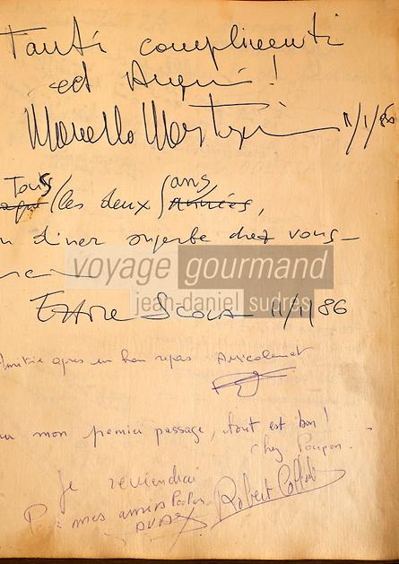 Europe/France/Provence-Alpes-Côte d'Azur/06/Alpes-Maritimes/Nice:  Extraits du Livre d'or du restaurant: Chez Poupon et Marinette