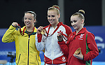 The women's gymnastics artistic balance beam podium.  From left, silver medalist Australia's Mary Anne Monckton, gold medalist Canada's Elizabeth Black and bronze medalist Wales' Georgina Hockenhull<br /> <br /> Photographer Chris Vaughan/Sportingwales<br /> <br /> 20th Commonwealth Games - Day 9 - Friday 1st August 2014 - Gymnastics - SECC - Glasgow - UK