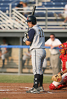 2007:  Justin Byler of the State College Spikes at bat during a game vs. the Batavia Muckdogs in New York-Penn League baseball action.  Photo By Mike Janes/Four Seam Images