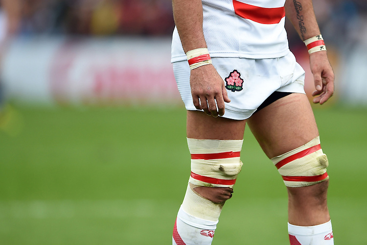 A general view of the Japan Rugby Union emblem. Rugby World Cup Pool B match between Scotland and Japan on September 23, 2015 at Kingsholm Stadium in Gloucester, England. Photo by: Patrick Khachfe / Stewart Communications