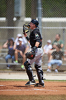 Miami Marlins catcher Alex Jones (64) during a minor league Spring Training game against the New York Mets on March 26, 2017 at the Roger Dean Stadium Complex in Jupiter, Florida.  (Mike Janes/Four Seam Images)