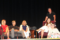 """Cynthia Watros, Grant Aleksander, Tina Sloan, Emma Gilliland and Meredith Taylor - cast on stage with Guiding Light's Michael O'Leary author of """"Breathing Under Dirt"""" - full play - had its world premier on August 13 and 14, 2016 at the Ella Fitzgerald Performing Arts Center, University of Maryland Eastern Shore, Princess Anne, Maryland  (Photo by Sue Coflin/Max Photos)"""