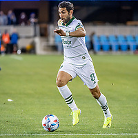 SAN JOSE, CA - MAY 15: Diego Valeri #8 of the Portland Timbers dribbles the ball during a game between San Jose Earthquakes and Portland Timbers at PayPal Park on May 15, 2021 in San Jose, California.