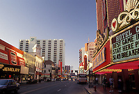 AJ3822, Reno, casinos, Nevada, Gambling establishments and hotels line the streets of downtown Reno in the state of Nevada.