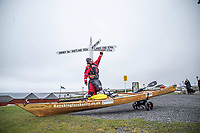 BNPS.co.uk (01202) 558833. <br /> Video: RoyBeal/KayakingForCharity/BNPS<br /> <br /> With Video - Download: https://we.tl/t-oBNxF4nwZe<br /> <br /> Pictured: Roy at the start of his epic journey. <br /> <br /> Potty paddler Roy Beal has written himself into the record books by kayaking from John O'Groats to Land's End – through canals, rivers and the sea.<br /> <br /> Roy embarked on the 900 mile odyssey that lasted 56 days in his wooden kayak named 'Just Add Water' and averaged around 20 miles a day.<br /> <br /> He paddled down the north east coast of Scotland, through Loch Ness and Loch Oich, down the west coast of Scotland and England to Merseyside where he ventured inland through canals and rivers before coming out through the Severn Estuary at Bristol and then around the south west coast to Land's End.
