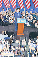Democratic presidential candidate and former South Bend, Ind., mayor Pete Buttigieg speaks at his Primary Night rally at Nashua Community College in Nashua, New Hampshire, on Tue., Feb. 11, 2020. Democratic presidential candidate and Vermont senator Bernie Sanders was projected to win the New Hampshire Democratic Primary, but Buttigieg came in a close second.