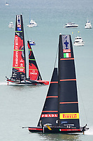 16th March 2021; Waitemata Harbour, Auckland, New Zealand;  Emirates Team New Zealand and Luna Rossa Prada Pirelli ahead of Day 6 of the America's Cup presented by Prada.