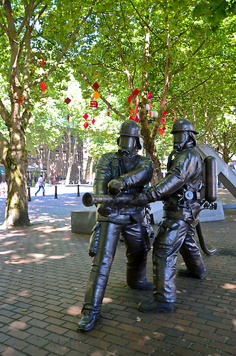Statues of Firefighters Pioneer Square Seattle WA
