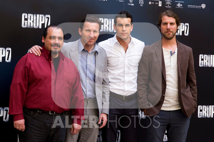 "Presentation at the Intercontinental Hotel in Madrid of the film ""Group 7"" with the presence of the actors Mario Casas, Antonio de la Torre, Inma Cuesta, Jose Manuel Poga, Joaquin Nunez, director Alberto Rodriguez, and producer Jose Antonio Fellez. In the picture: Joaquin NuÒez, Antonio de la Torre, Mario Casas and Jose Manuel Poga..(Alterphotos/Marta Gonzalez)"