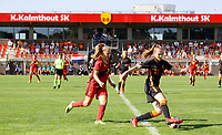 Captain Tinne Broeckaert (2) of Belgium and Bo op de Weegh (17) of the Netherlands in action during an international friendly female soccer game between the national teams of Belgium , called the Red Flames U17 and the Netherlands on Wednesday 8th of September 2020  in Kalmthout , Belgium . PHOTO SPORTPIX.BE | SPP | SEVIL OKTEM