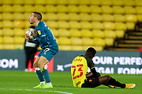 26th December 2020; Vicarage Road, Watford, Hertfordshire, England; English Football League Championship Football, Watford versus Norwich City; Emi Buendia of Norwich City reacts as he is judged to have fouled Ismaila Sarr of Watford
