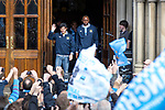 © Joel Goodman - 07973 332324  . 23/05/2011 . Manchester, UK . Players step out from Manchester Town Hall ahead of the parade . Tens of thousands of fans line the streets of Manchester as Manchester City Football Club hold an open-topped bus parade through the city. The team are celebrating winning the FA Cup, their first trophy in 35 years, and for qualifying for next season's Champions League . Photo credit: Joel Goodman