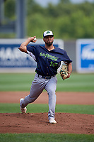 Vermont Lake Monsters pitcher Leudeny Pineda (16) during a NY-Penn League game against the Aberdeen IronBirds on August 18, 2019 at Leidos Field at Ripken Stadium in Aberdeen, Maryland.  Vermont defeated Aberdeen 6-5.  (Mike Janes/Four Seam Images)
