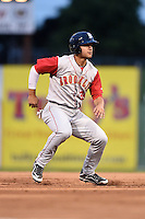 Brooklyn Cyclones outfielder Michael Conforto (39) leads off second during a game against the Batavia Muckdogs on August 11, 2014 at Dwyer Stadium in Batavia, New York.  Batavia defeated Brooklyn 4-3.  (Mike Janes/Four Seam Images)