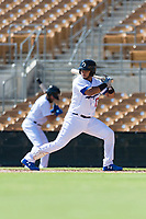 Glendale Desert Dogs catcher Keibert Ruiz (17), of the Los Angeles Dodgers organization, at bat during an Arizona Fall League game against the Mesa Solar Sox at Camelback Ranch on October 15, 2018 in Glendale, Arizona. Mesa defeated Glendale 8-0. (Zachary Lucy/Four Seam Images)