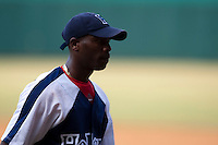 15 February 2009: Left pitcher Aroldis Chapman of the Orientales walks back to the dugout during a training game of Cuba Baseball Team for the World Baseball Classic 2009. The national team is pitted against itself, divided in two teams called the Occidentales and the Orientales. The Orientales win 12-8, at the Latinoamericano stadium, in la Habana, Cuba.