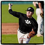 Ian Yunker (31) of the University of South Carolina Upstate Spartans Black team delivers a warmup pitch in the Green and Black Fall World Series Game 3 on Sunday, November 1, 2020, at Cleveland S. Harley Park in Spartanburg, South Carolina. Green won, 3-2. (Tom Priddy/Four Seam Images)
