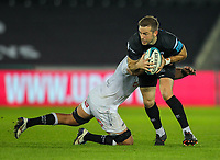 8th October 2021;  Swansea.com Stadium, Swansea, Wales; United Rugby Championship, Ospreys versus Sharks; Stephen Myler of Ospreys is tackled by Henco Venter of Cell C Sharks