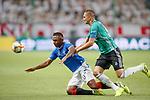 22.08.2019 Legia Warsaw v Rangers: Alfredo Morelos fouled ny Artur Jedrejczyk