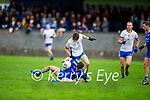 Joe Hoare of Annascaul in possession and under pressure from Keith Evans of Keel in the Junior Premier football championship
