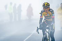 Koen Bouwman (NED/Jumbo-Visma) coming over the misty Passo Giau<br /> <br /> due to the bad weather conditions the stage was shortened (on the raceday) to 153km and the Passo Giau became this years Cima Coppi (highest point of the Giro).<br /> <br /> 104th Giro d'Italia 2021 (2.UWT)<br /> Stage 16 from Sacile to Cortina d'Ampezzo (shortened from 212km to 153km)<br /> <br /> ©kramon