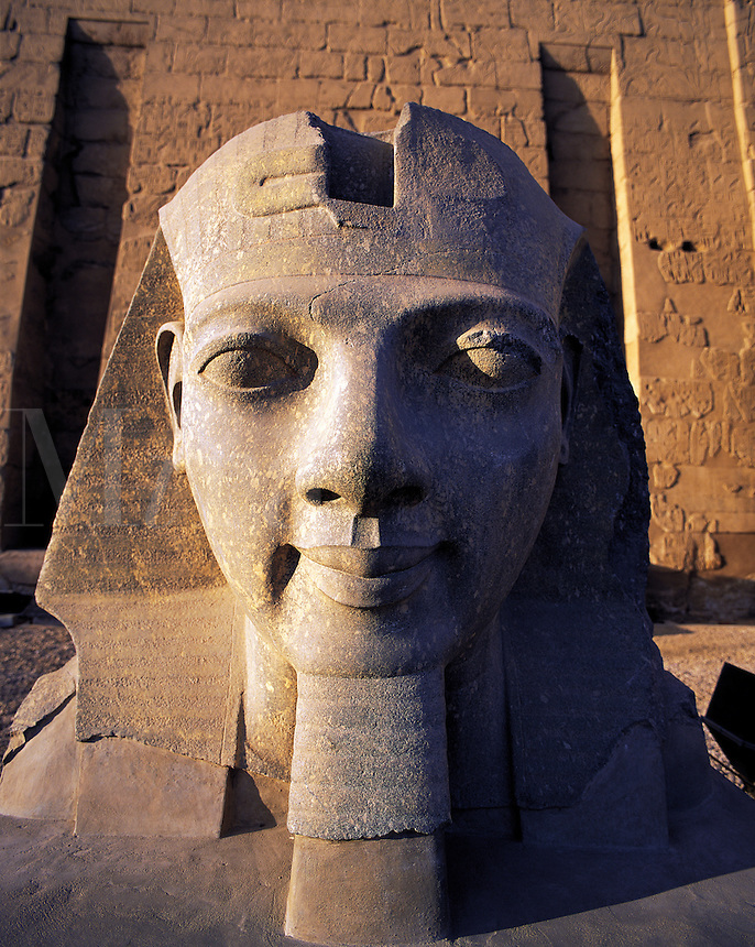 Carved head of Rameses II at Luxor temple, Luxor, Egyp