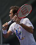 March 23 2016:  Roger Federer (SUI) Practices At The Miami Open Being Played At Crandon Park Tennis Center In Miami, Key Biscayne, Florida.