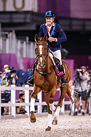 AUS-Andrew Hoy rides Vissily de Lassos during the Eventing Individual Jumping Medal Ceremony. Tokyo 2020 Olympic Games. Monday 2 August 2021. Copyright Photo: Libby Law Photography