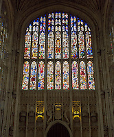 UK, England, Cambridge.  King's College Chapel, 19th. Century Stained Glass Window Representing the Last Judgment , above Emblems of Royal Lineage.