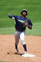 Vermont Lake Monsters shortstop Eric Marinez (2) throws to first during a game against the Auburn Doubledays on July 13, 2016 at Falcon Park in Auburn, New York.  Auburn defeated Vermont 8-4.  (Mike Janes/Four Seam Images)