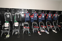Houston, TX - Sunday Oct. 09, 2016: Washington Spirit locker room prior to a National Women's Soccer League (NWSL) Championship match between the Washington Spirit and the Western New York Flash at BBVA Compass Stadium.