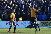 Mickey Demetriou of Newport County heads the ball during the Fly Emirates FA Cup Third Round match between Newport County and Leeds United at Rodney Parade, Newport, Wales, UK. Sunday 07 January 2018