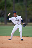 Detroit Tigers shortstop Yerjeni Perez (83) during an Instructional League game against the Philadelphia Phillies on September 19, 2019 at Tigertown in Lakeland, Florida.  (Mike Janes/Four Seam Images)