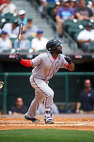 Syracuse Chiefs left fielder Brian Goodwin (15) at bat during a game against the Buffalo Bisons on July 31, 2016 at Coca-Cola Field in Buffalo, New York.  Buffalo defeated Syracuse 6-5.  (Mike Janes/Four Seam Images)