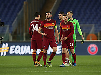 Football Soccer: Europa League -Round of 16 1nd leg AS Roma vs FC Shakhtar Donetsk, Olympic Stadium. Rome, Italy, March 11, 2021.<br /> Roma's players celebrates after winning 3-0 the Europa League football soccer match between Roma and  Shakhtar Donetsk at Olympic Stadium in Rome, on March 11, 2021.<br /> UPDATE IMAGES PRESS/Isabella Bonotto