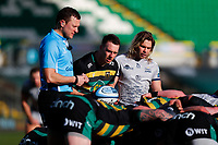 13th March 2021; Franklin's Gardens, Northampton, East Midlands, England; Premiership Rugby Union, Northampton Saints versus Sale Sharks; Tom James of Northampton Saints waits to put the ball into a scrum under the watch of referee Matthew Carley