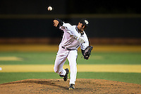Wake Forest Demon Deacons closer Donnie Sellers (14) delivers a pitch to the plate against the Georgetown Hoyas at David F. Couch Ballpark on February 19, 2016 in Winston-Salem, North Carolina.  The Demon Deacons defeated the Hoyas 3-1.  (Brian Westerholt/Four Seam Images)