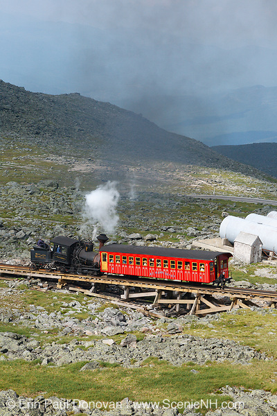 The Mount Washington Cog Railroad on the summit of Mount Washington in the White Mountains, New Hampshire. Completed in 1869, this three mile railroad leads to the summit of Mount Washington.