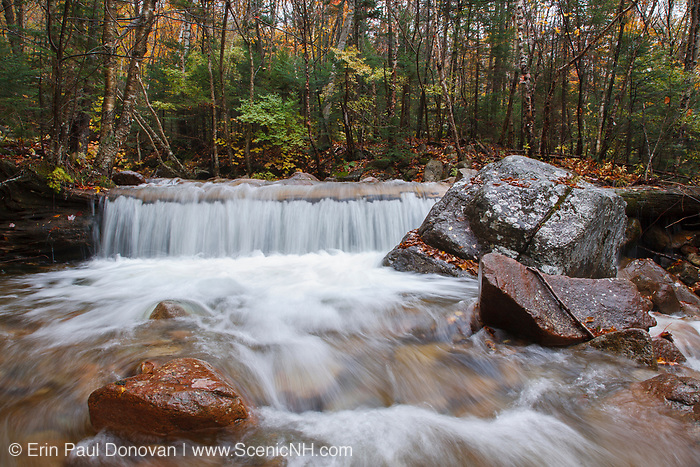 Redrock Brook in the Pemigewasset Wilderness of Franconia, New Hampshire during the autumn months.