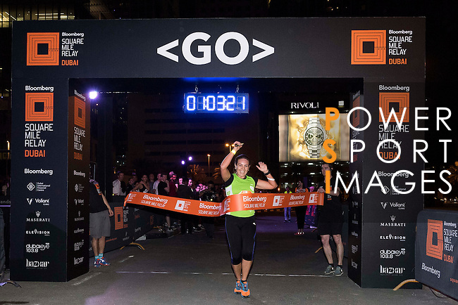 Mustangroup team runner celebrates after crossing the finish line during the Bloomberg Square Mile Relay race across the Dubai International Financial Centre on 8 February 2017 in Dubai, United Arab Emirates. Photo by Victor Fraile / Power Sport Images