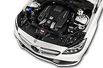 Car Stock 2017 Mercedes Benz CLS AMG-63-S 4 Door Sedan Engine  high angle detail view