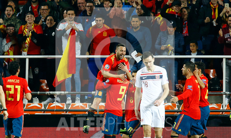 Spain's Rodrigo Moreno and Spain's Jordi Alba during the Qualifiers - Group F to Euro 2020 football match between Spain and Norway on 23th March, 2019 in Valencia, Spain. (ALTERPHOTOS/Manu R.B.)