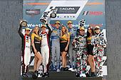 #48 Paul Miller Racing Lamborghini Huracan GT3, GTD: Madison Snow, Bryan Sellers, #14 3GT Racing Lexus RCF GT3, GTD: Dominik Baumann, Kyle Marcelli, #86 Meyer Shank Racing with Curb-Agajanian Acura NSX, GTD: Katherine Legge, Alvaro Parente, podium