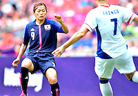 August 06, 2012..Japan's Nahomi Kawasumi #9, and France's Corine Franco #7, during Semi Final match at the Wembley Stadium on day ten in Wembley, England. Japan defeats France 2-1 to reach Women's Finals of the 2012 London Olympics.