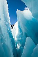 Amazing colours and shapes of blue ice on Franz Josef Glacier, Westland Tai Poutini National Park, West Coast, UNESCO World Heritage Area, New Zealand, NZ